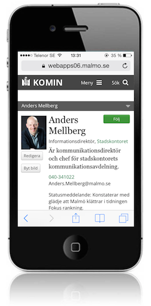 A staff directory page. If i click on the phone number my iPhone asks me if I want to phone him. A bit further down Anders visiting address is clickable, exposing a map.